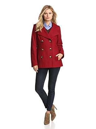 Anne Klein Women's Double-Breasted Coat with Hood (Red)