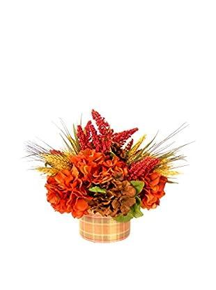Creative Displays Rust, Red, & Brown Hydrangea Floral in Plaid Vase, Rust/Red/Brown