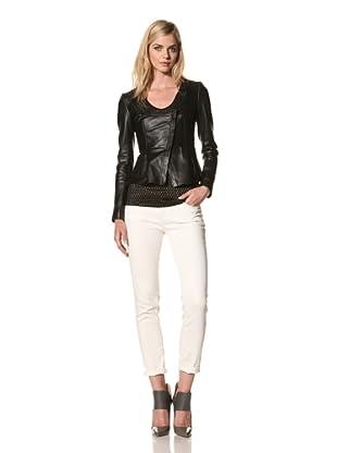 Thakoon Women's Seamed Peplum Leather Jacket (Black)