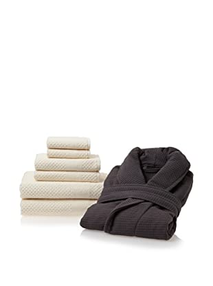 Chortex Robe and Towel Set (Almond/Charcoal)