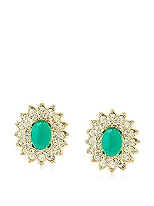 Kenneth Jay Lane Emerald Green Fancy Oval Earrings