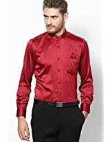 Solid Maroon Party Wear Shirt With Pocket Square Turtle