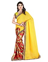 B Fashion Women's Chiffon printed Saree (BF1005_YELLOW)