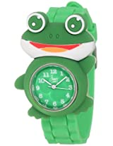 "Frenzy Kids' FR2002 ""Frog Critter Face"" Green Band Children's Watch"