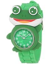 """Frenzy Kids' FR2002 """"Frog Critter Face"""" Green Band Children's Watch"""