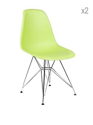 Lo+deModa Set De 2 Sillas Tower Color Edition Verde