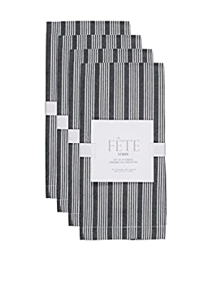 KAF Home Set of 4 Striped Napkins, Black