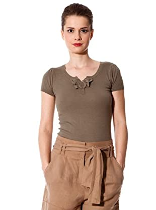 Naf Naf Camiseta Volantes (caqui)