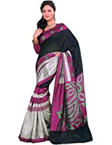 Parchayee Women's Synthetic Bhagalpuri Silk Saree (94392A, Black, Free Size)
