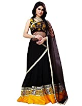 Ustaad Womens Georgette Lehenga Choli (Uhfvc_04 _Black Yellow _Free Size)