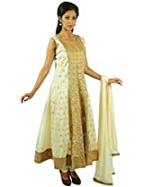 Aarshi Women's Chanderi Cotton Stitched Salwar Suit (KMD/DS/001/1011_L, Off-White & Beige, L)