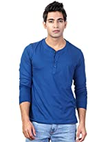 Blue Full Sleeve Henley T Shirt