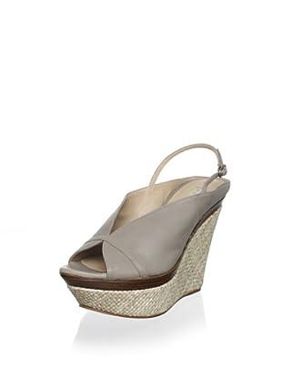 Pura López Women's Slingback Platform Wedge Sandal (Faber 32 Piedra)