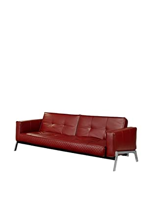 Abbyson Living Tara Red Faux Leather Convertible Sofa, Red