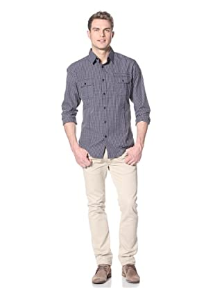 Dorsia Men's Charlie Two Long Sleeve Button-Up Shirt (Navy Check)