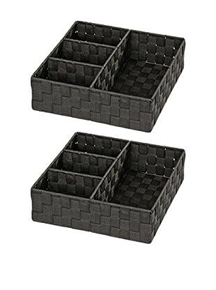 Wenko Aufbewahrungskorb 2er Set schwarz one size