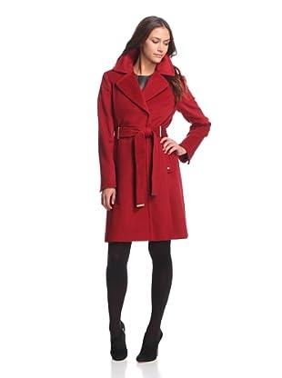 Ellen Tracy Women's Belted Walker Coat (Ruby Red)