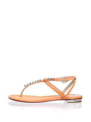 Schutz Women's Satin Thong Sandal with Jewels (Sun Orange)