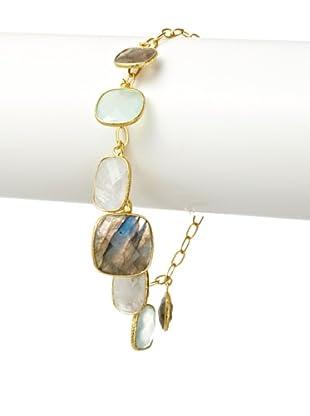 Argento Vivo Multi Stone Charm Drop Bracelet