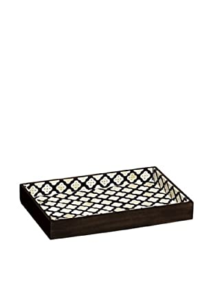 Mela Artisans Pavilion Decorative Tray, Black/White/Brown