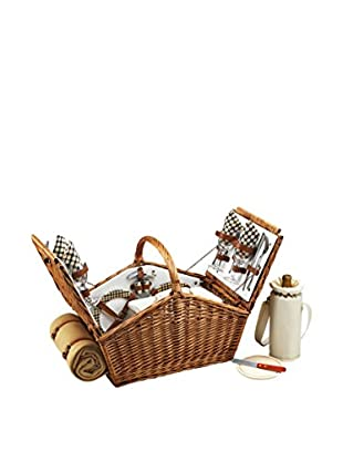 Picnic at Ascot Huntsman Basket For 4 with Blanket, Willow/Cream/London
