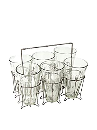 Napa Home and Garden Wire Caddy With 6 Glasses, Silver