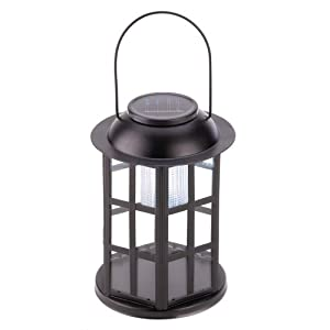 Gifts & Decor Black Iron and Glass Panel Solar Power Carriage Lantern