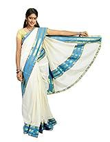 Atex Cotton Lace Saree (Atex70018 _Cream)