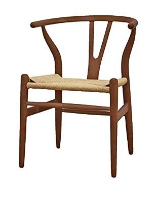 Baxton Studio Mid-Century Modern Wishbone Chair, Dark Brown