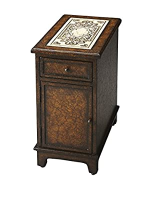 Butler Specialty Company Corsica Etched Fossil Stone Chairside Chest, Brown