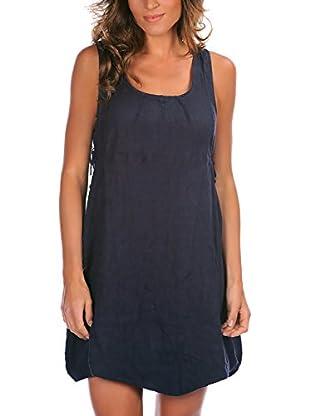 100% Lino Bleu Marine Vestido Karine
