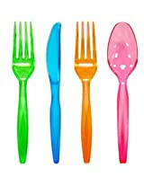 ChefLand 96-Piece Plastic Cutlery Combo Knives/Forks/Spoons, Assorted Neon Colors