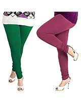 Lux Womens Churidar Cotton Leggings (Set Of 2) - L 20-63