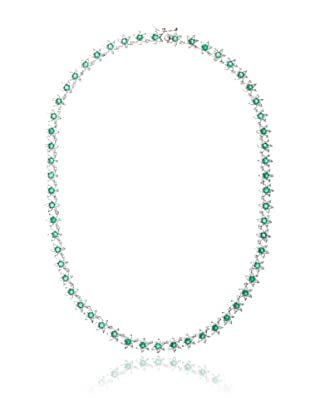 Cubic Zirconia by Kenneth Jay Lane Green & Clear Floral Pattern Eternity Necklace