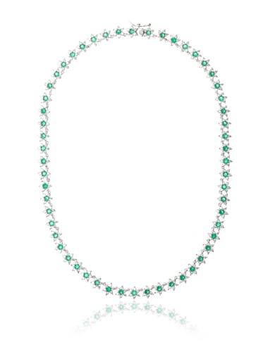 CZ by Kenneth Jay Lane Green/Clear Floral Pattern Eternity Necklace