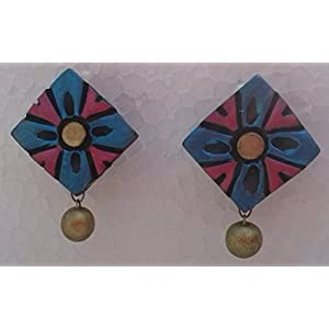 Petals Of Earth Terracotta Blue, Pink And Gold Stud Earrings
