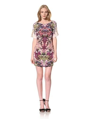Theia Womens Floral Printed Silk Dress Dolman Sleeve (Peony Multi)