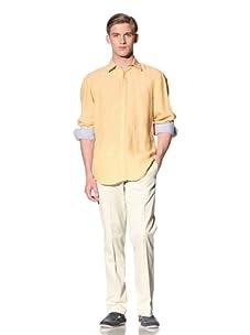 Report Collection Men's Linen Button-Front Shirt (Sunshine)