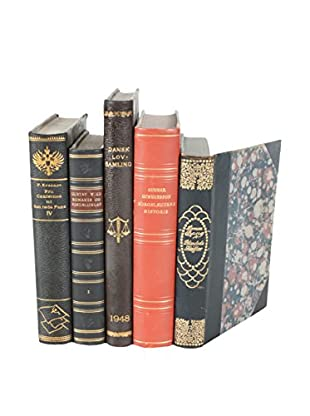 Set of 5 Decorative Leather Books, Black/Brown/Red/Gold