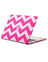 "Kuzy Chevron Rubberized Hard Case for MacBook Air 13.3"" (A1466 & A1369) - [Neon Pink]"