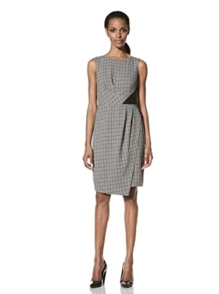Nue by Shani Women's Sleeveless Plaid Sheath with Faux Leather Detail (Black)