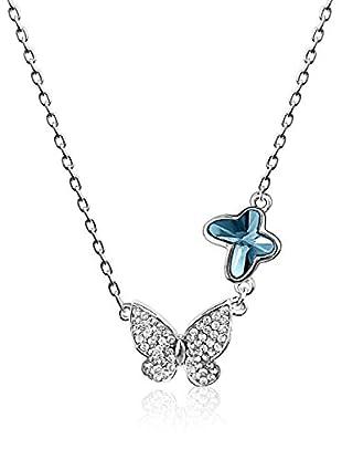 Absolute Crystals Set Kette und Anhänger 2 Butterflies blue denim
