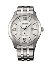 Orient Dressy Quartz Men White Dial Silver Metal Strap Round Shape, Made in Japan