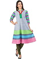 Zovi Cotton Multicolored Placement Print Anarkali Kurti With Stand Collar (10648407601_S)