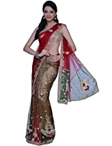 Maroon and Hunter Green Net Embroidered Party Lehenga Style Saree