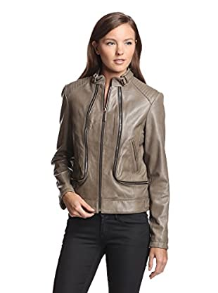 Vince Camuto Women's Leather Jacket (Clay)