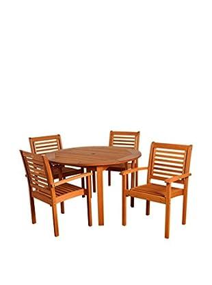 Amazonia Milano 5-Piece Round Dining Set, Brown