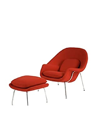 Manhattan Living Womb Chair & Ottoman Set, Red