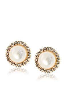 Belargo Women's Mother of Pearl Stud Earrings, Gold