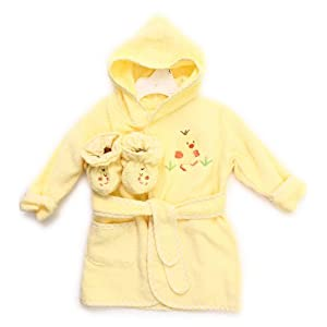 Spasilk 100% Cotton Hooded Terry Bathrobe with Booties, Yellow Duck, 0-6 Months